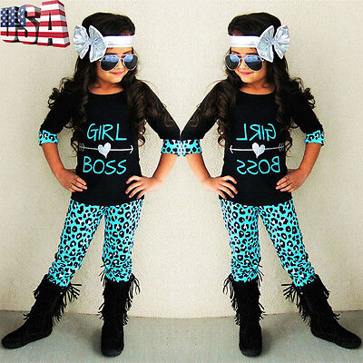 Toddler Kids Baby Girl Outfit Half Sleeve Leopard T-shirt Tops+Pants Clothes Set