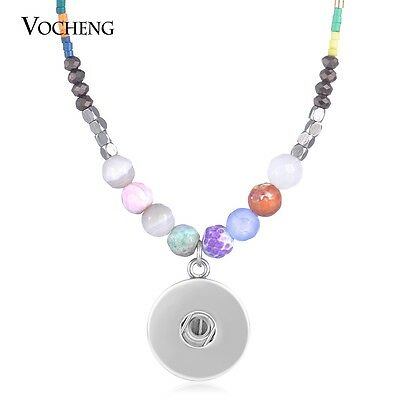 10pcs/lot Vocheng 18mm Snap Stainless Steel Natural Stone Necklace NN-615*10