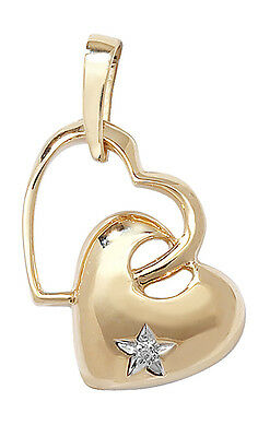 Heart Pendant Diamond Yellow Gold Two Hearts Necklace