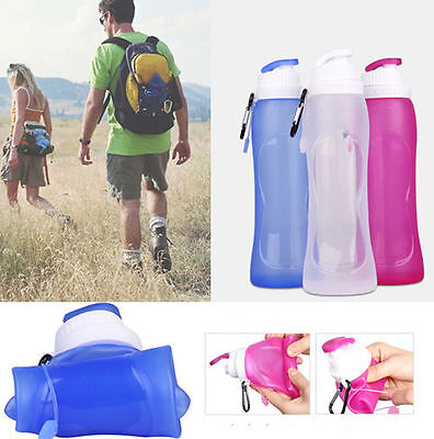 Portable 500ML Silicone Collapsible Folding Drink Water Bottle Kettle Cup Travel