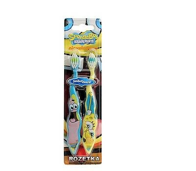 Boys Childrens Spongebob SquarepantsTwin Pack Toothbrushes - Great Gift For Fans