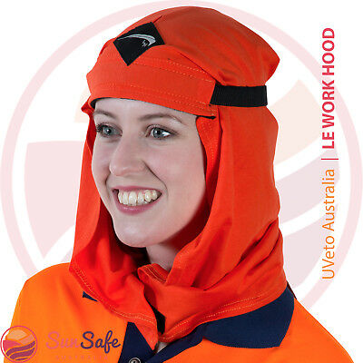 Le Work Hood UPF50+ Sun Protection Orange/Navy Adjustable Size 100% Cotton NEW