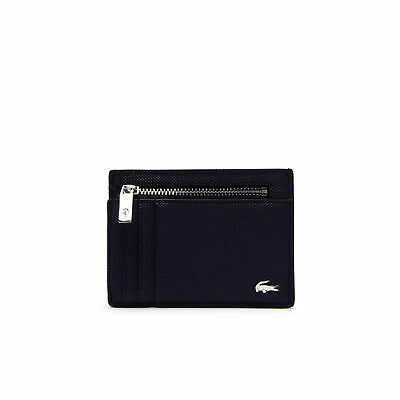 Men's Lacoste Edward Coated Leather Card Holder Navy Blue Tricolor Accents