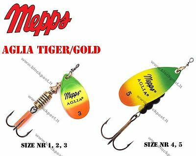 Mepps Aglia Gold Firetiger Fishing spinners. Original. DIFFERENT SIZES, NEW