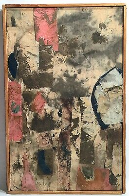Ralph Dubin 1919-1988 Abstract Modernist 1983 Mixed Media  Collage Textile