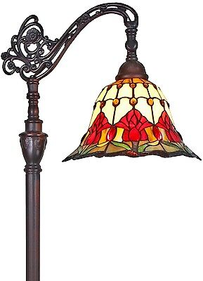 Tiffany Style Reading Floor Lamp Floral Tulips Stained Glass Handcrafted Design