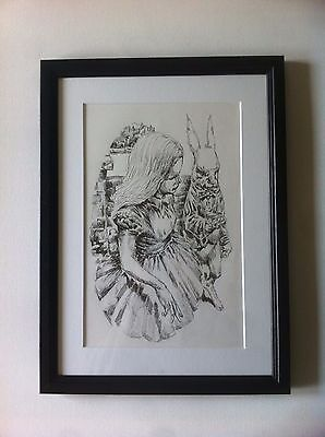 Alice in Wonderland Original Art Robert Farrow Pen Drawing Dark Fantasy