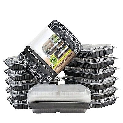 Meal Prep 3 Compartment Food Containers Box Microwavable Stackable BPA Free