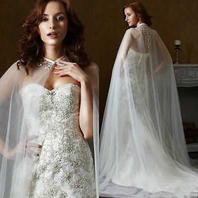 White Ivory Lace Appliques Long Mantle Wedding Cape Overlay Bridal Gown Shawl