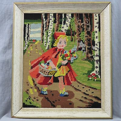 """Little Red Riding Hood & Wolf In The Forest Completed Framed Latch Hook 13""""x16"""""""