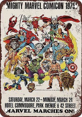 """7"""" x 10"""" Metal Sign - 1975 New York Comicon - Vintage Look Reproduction"""