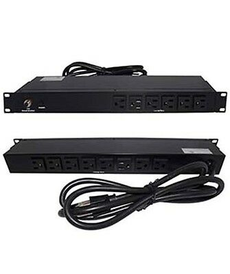 "19"" inch 1U Metal Rack Mount 14-Outlet 120V 15A PDU Power Bar Strip AC 6ft Cable"