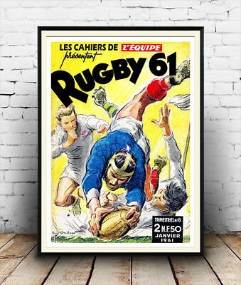Rugby 61  :  Vintage French Magazine cover advertising ,  Poster reproduction.