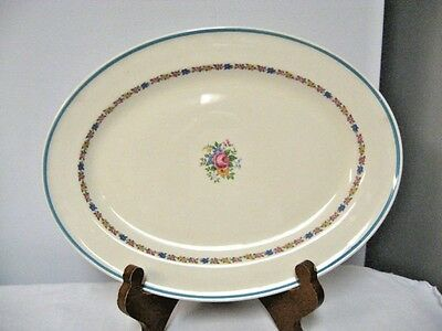 "Older EDWIN M KNOWLES Semi Vitreous 11 1/2"" Oval Platter-Roses-Blue"
