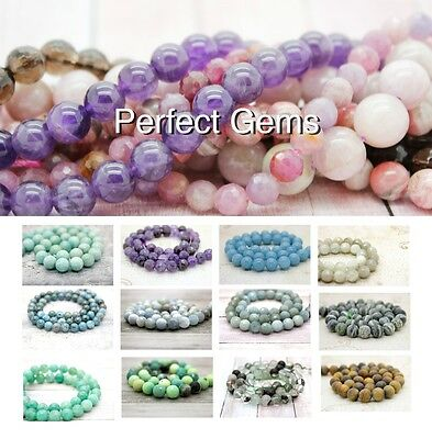 "Wholesale Smooth Faceted Natural Gemstone Round Loose Beads 16"" 4mm 6mm 8mm 10mm"