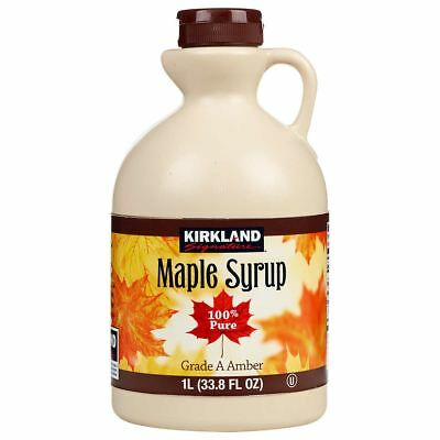 Kirkland Maple Syrup, Pure & Natural, Grade A Amber, Rich Taste 1Ltr