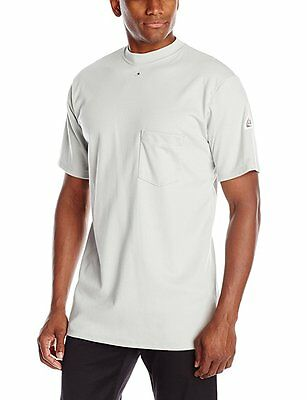 Bulwark Flame Resistant 6.25 oz Cotton Short Sleeve Tagless T-Shirt, Grey,