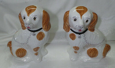Vintage Big Pair Of Staffordshire Style  Porcelain Hand Painted Dogs