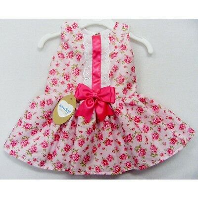 GIRLS PINK WILD ROSES DRESS CERISE BOW Kinder Boutique 3M upto 4 year SUMMER