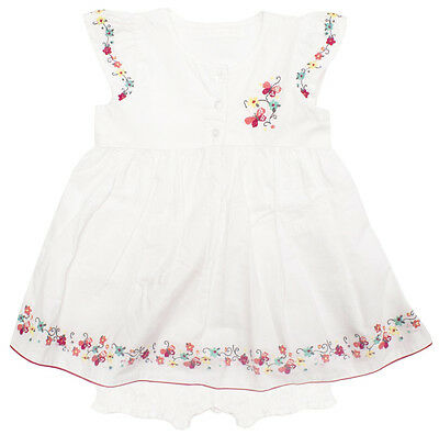 Girls Baby Toddler Floral Embroidered Sun Dress & Knickers Set 6 to 24 Months
