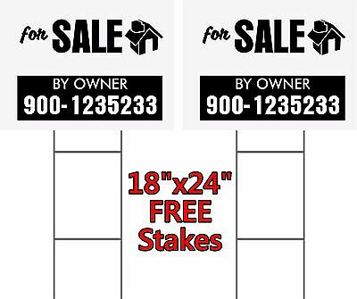 """2 UNITS 18 x 24"""" Yard Signs """"For Sale By Owner"""" 2-Sided  FREE Stakes Commercial"""