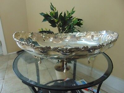 "Very Big Sterling Silver .925 LILYAN Mexico Fruit/Bowl Platter 1095G 15""/10""/6"""