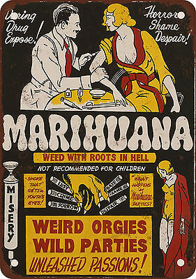 """7"""" x 10"""" Metal Sign - 1936 Marijuana Weed With Roots in Hell - Vintage Look Repr"""