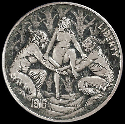 """Hobo Nickel Carving on 1916 Buffalo Coin - """"Witch & Satyrs"""" by Roman Booteen"""