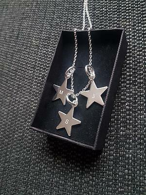 Personalised Sterling Silver Star Charm Necklace With Letter Engraving