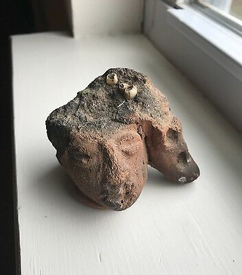 Pre-Columbian Pottery Head Mayan Aztec Face Artifact Fragment Figural 3""