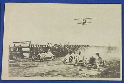 Vintage Japanese Photo Postcard Miniature Motor Car Racing airplane biplane old