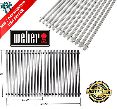 For Weber 7521 Set of 2 Stainless Steel Cooking Grates Spirit and Genesis Models