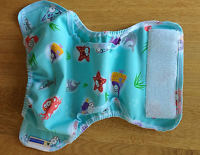 BRAND NEW Mother-ease Rikki Wrap Reusable Nappy Cover. XS 6-12lbs. Ocean Print.