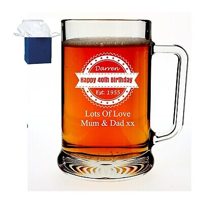Personalised Engraved Glass Pint Tankard Birthday Gift 18th, 21st 30th 40th 50th