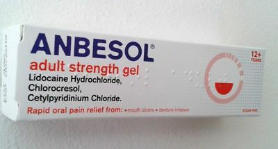 ANBESOL ADULT STRENGTH GEL -MOUTH ULCER PAIN GEL 10g**Free Post**