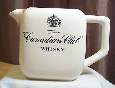 VINTAGE Canadian Club Whisky Pitcher - Cream w/ Black Graphics