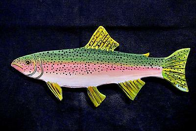 RAiNBOW TROUT~ORiGINAL HAND CUT WOOD~FiSH~KENO ART FOLK outsider~COASTWALKER~USA