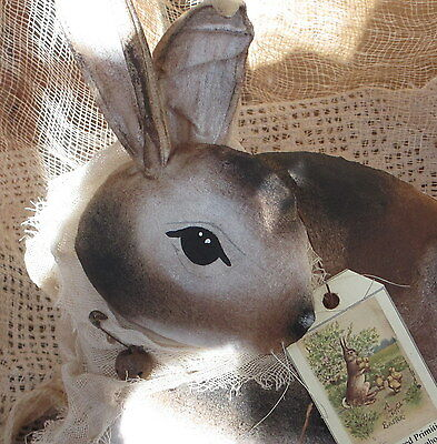 Primitive Folk Art Spotted Rabbit Spring Bunny Doll Ooak Last Chance