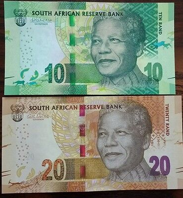 South Africa 10 & 20 rand, 2012-2015, NEW, New Sign. UNC -Mandela