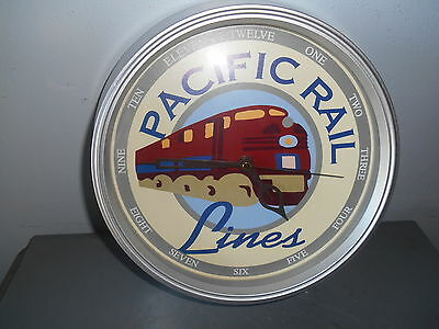 Collectible Advertising Pacific Rail Lines Battery Operated Wall Clock EUC