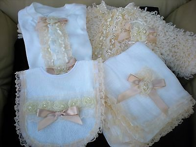 Romany Blinged Baby Layette Set in White/Ivory - Sizes 3-6 months