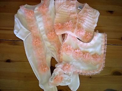 Romany Blinged Baby Layette Set in White/Peachy Pink - Sizes NB