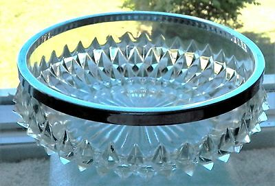 Antique Cut Glass Round Diamond Point Serving Bowl With A Shiny Silver Metal Rim
