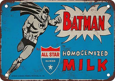 """7"""" x 10"""" Metal Sign - 1966 Batman for All Star Milk - Vintage Look Reproduction"""
