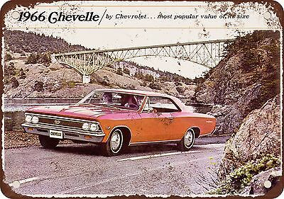 """7"""" x 10"""" Metal Sign - 1966 Chevrolet Chevelle - Vintage Look Reproduction"""