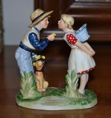 Norman Rockwell Figurine, Gorham Gift World, Spring - Beguiling Buttercup, 4 in
