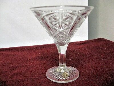 Pressed Glass Fluted Stemware Compote-Alternating Floral & Diamondpoint Pattern