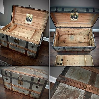 Antique Silver METAL & WOOD Steamer Trunk - Brass Hinges/Locks - Vintage Luggage