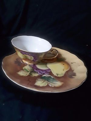 Lefton China Teacup And Luncheon Plate Hand Painted