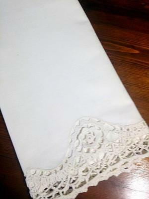 "Vintage Pillow Case Embroidered Floral Crochet Lace 18.5""x 32"""